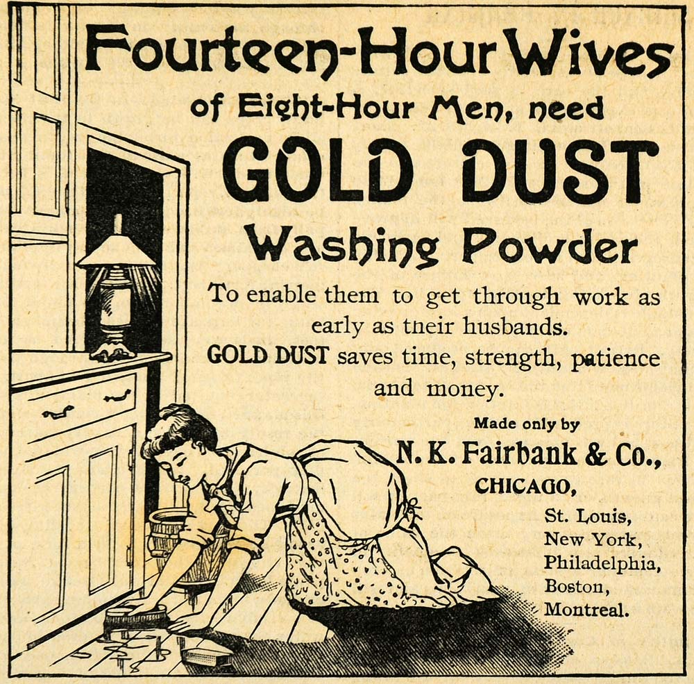 1893 housewife scrubbing floor