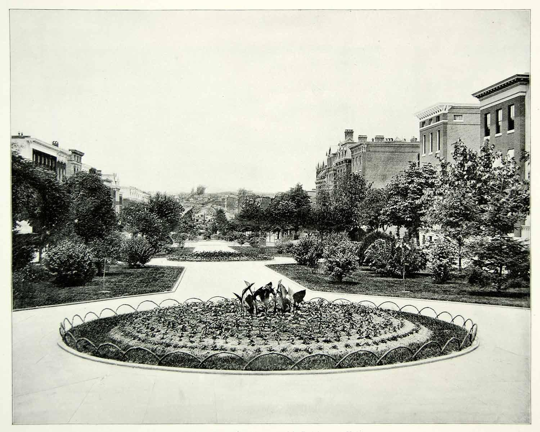 1894 Print Eutaw Place Baltimore Maryland Botanical Garden