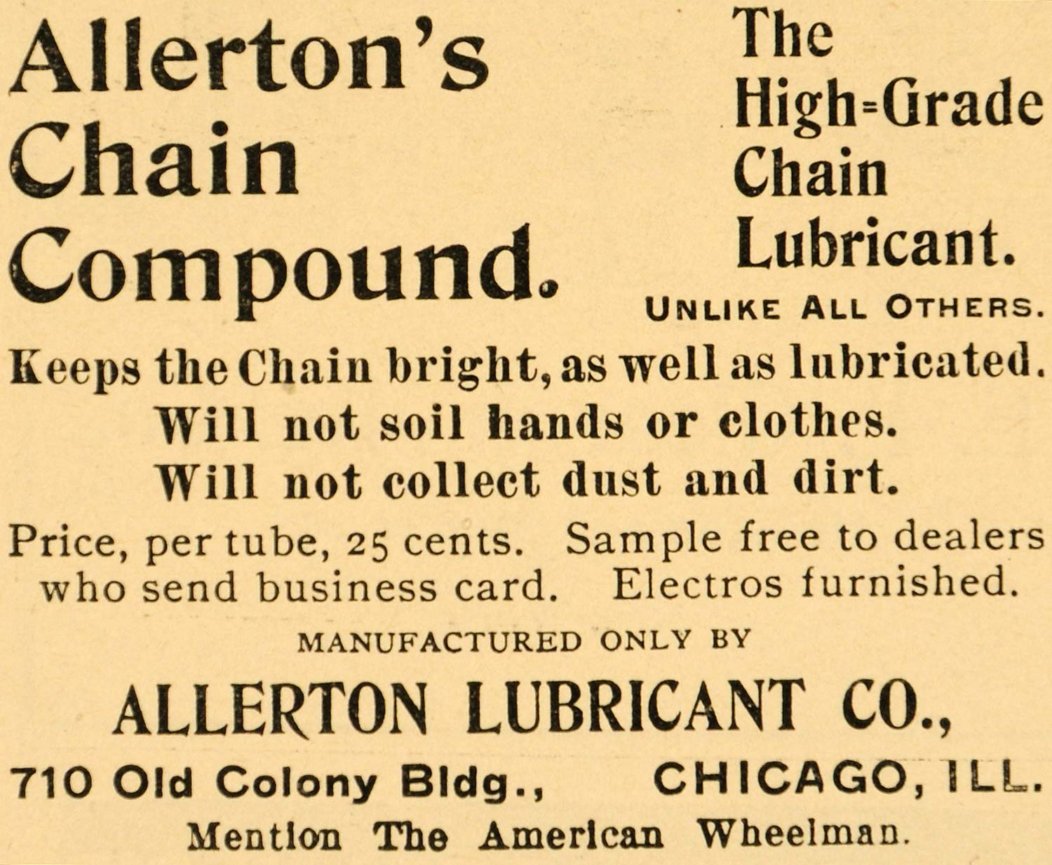 1896 Ad Allerton Lubricant Chicago Chain Compound Bicycle Bike Cycle