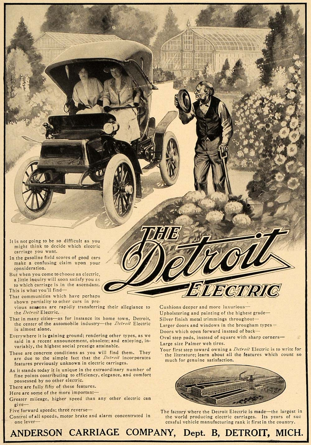 Details about 1909 Ad Detroit Electric Anderson Carriage Company Cars