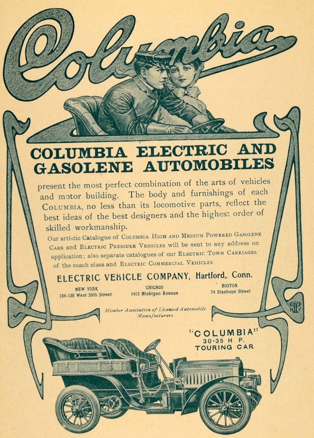 1904 Ad Columbia Touring Motor Car Electric Gas