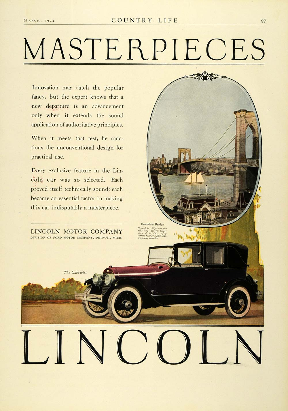 1924 Ad Antique Enclosed Lincoln Motor Car Cabriolet
