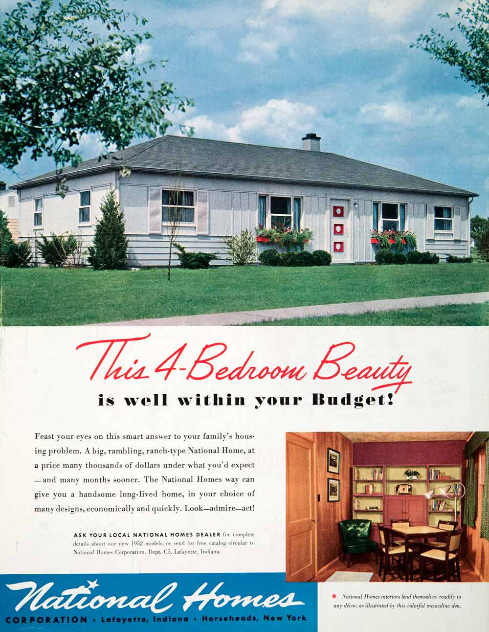 1951 ad four bedroom ranch house national homes horseheads