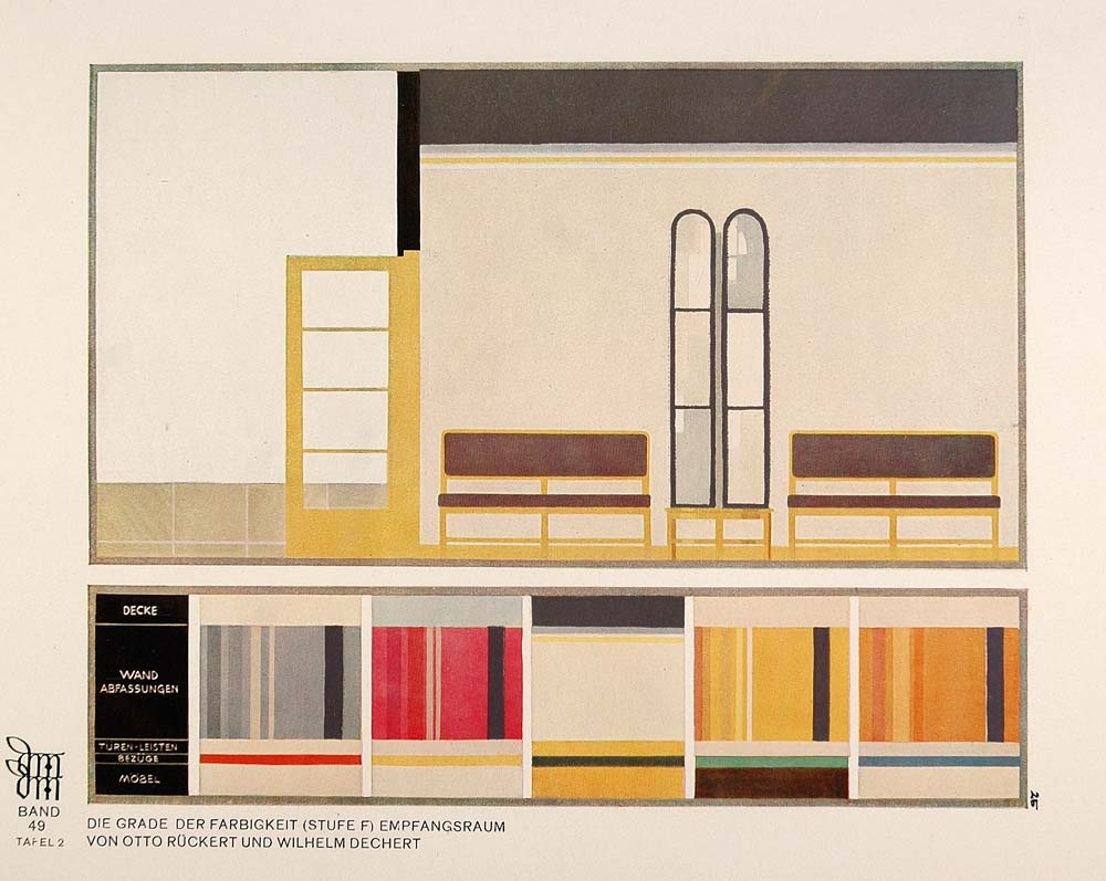 1929 art deco interior design room color palette print