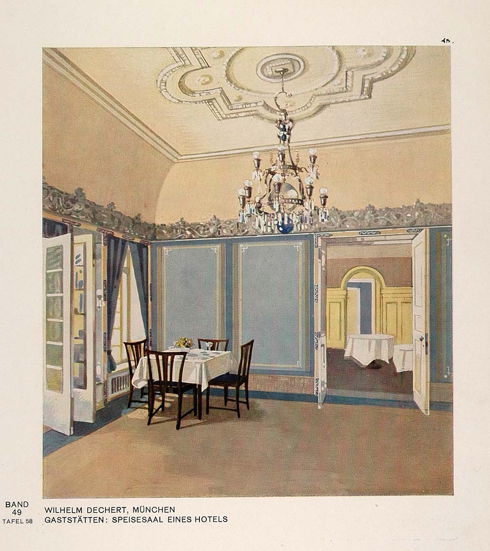 Art 1929 Art Deco Hotel Restaurant Dining Room Design Print Original