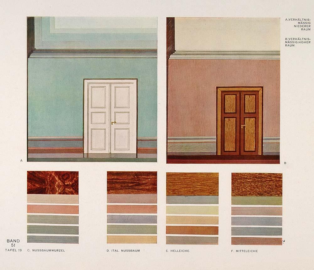 1931 art deco interior design wall colors room print for Art deco interior paint colors