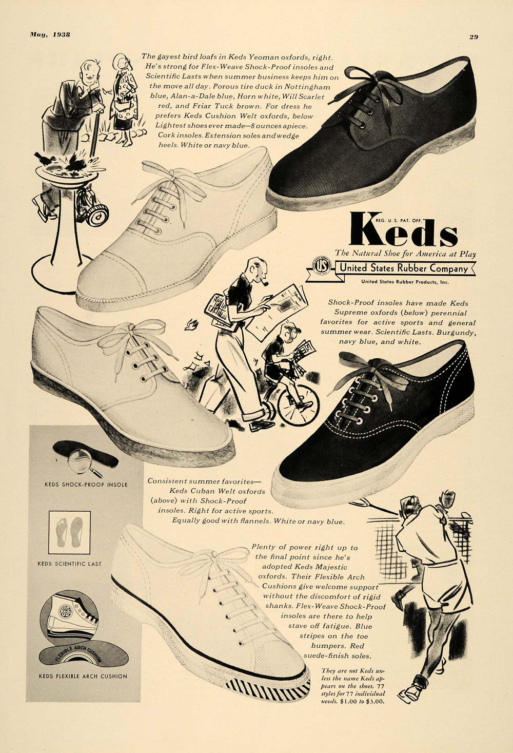 1938 Ad Keds Shoes Pricing United States Rubber Tennis - ORIGINAL ADVERTISING