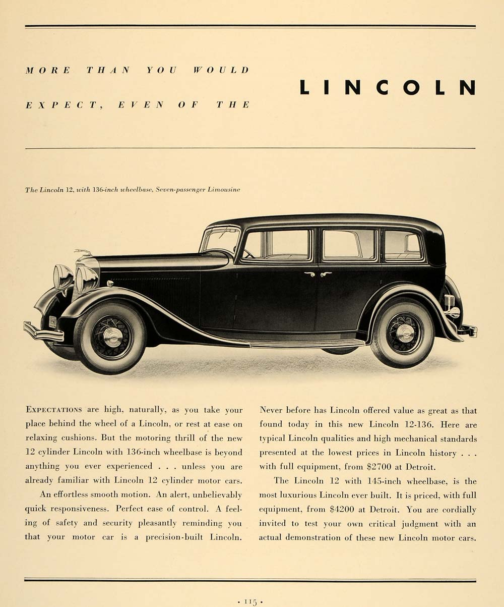1933 Ad Lincoln Ford Motor Company Motor Car Limousine