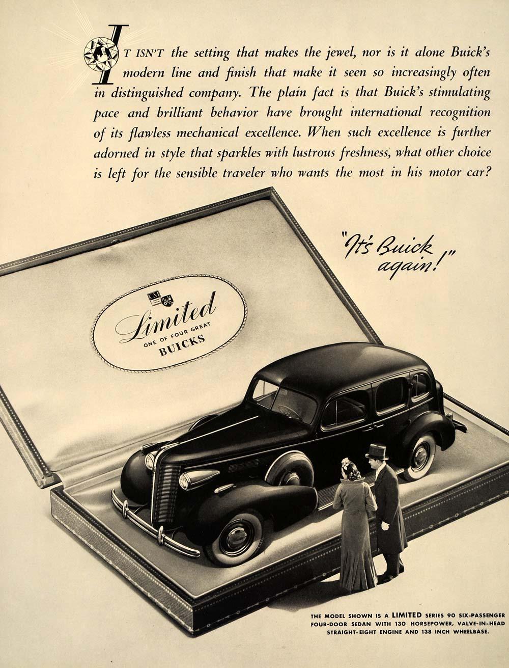 1937 Ad Vintage Buick Car Auto Limited Series 90 Sedan