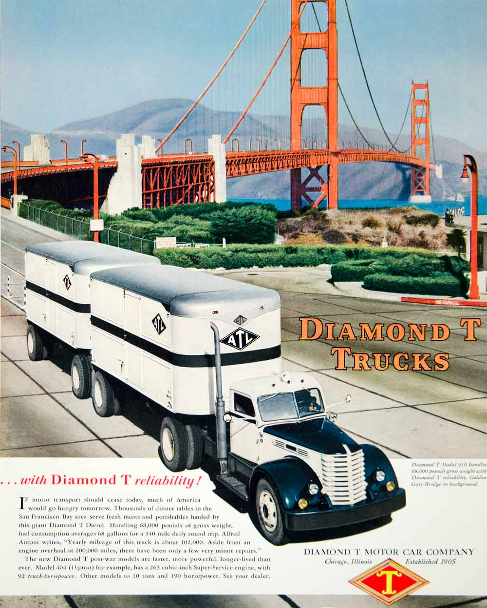 1947 ad diamond t motor car semi trucks chicago il golden Motor vehicle chicago