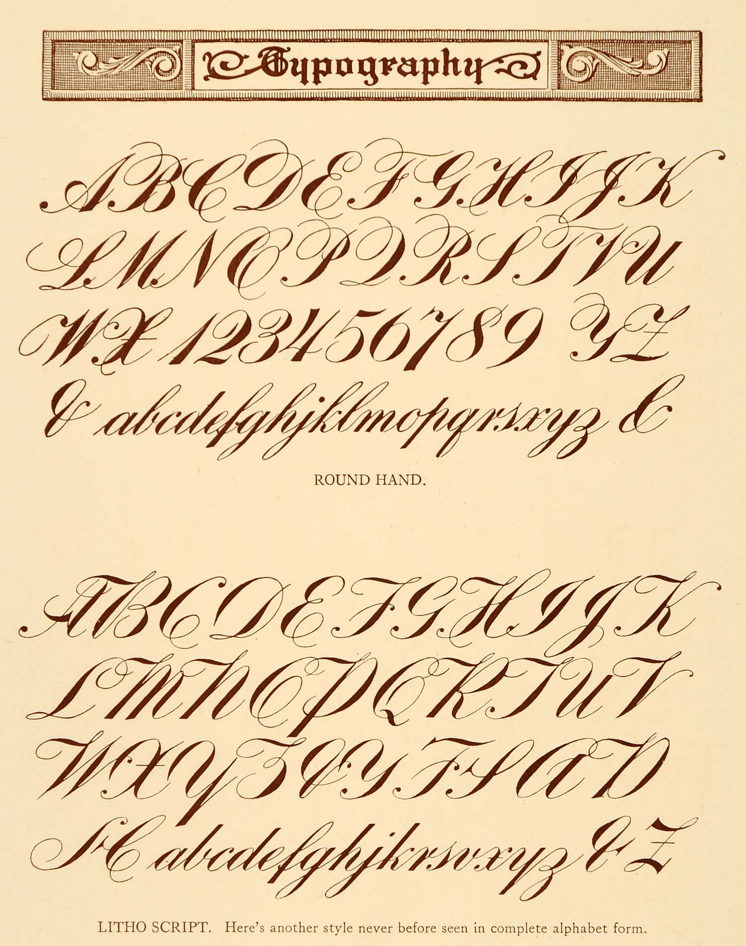 Lithograph typography alphabet script type font