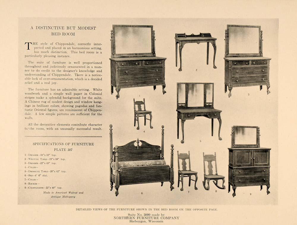 1919 Print Northern Furniture Bedroom Mirror Dresser