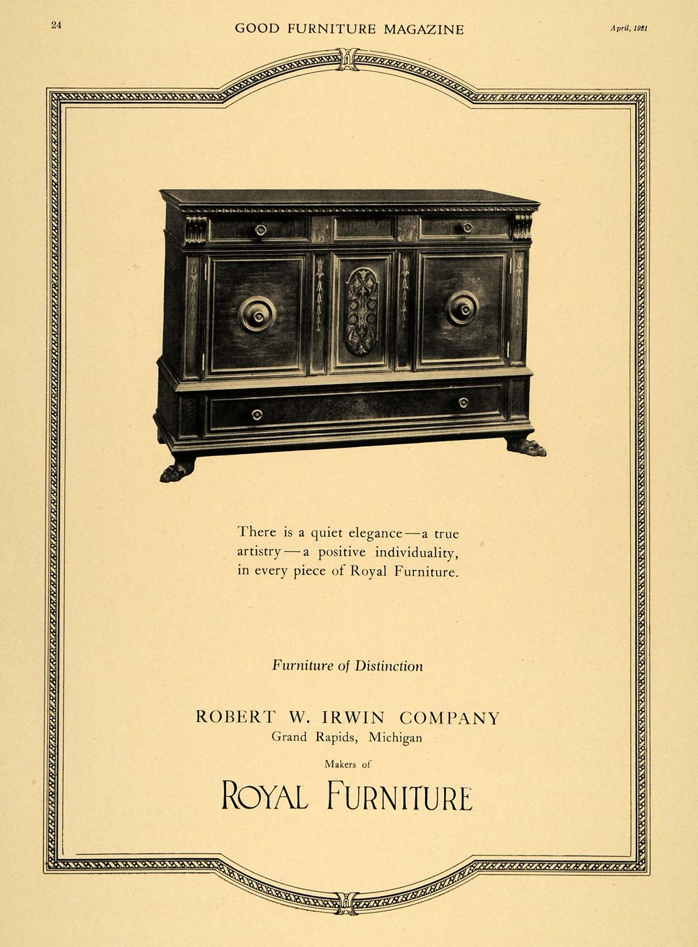 Robert W_ Irwin Furniture Company http://www.ebay.com/itm/1921-Ad-Robert-W-Irwin-Co-Royal-Furniture-Cabinet-ORIGINAL-ADVERTISING-/310390205214