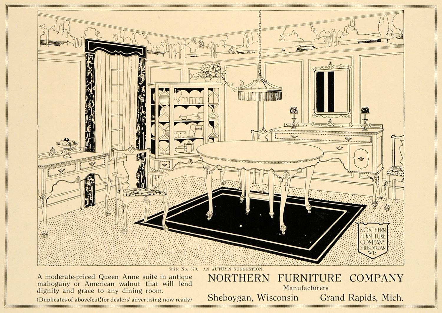 1918 Ad Northern Furniture Co Queen Anne Antique Table