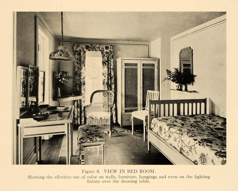 1919 Print Bedroom Furniture Antique Vanity Table Bed ...