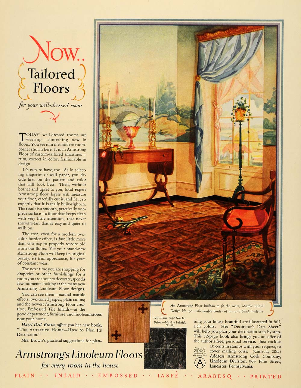 1928 ad armstrong linoleum floors home decor marble for Ebay decorations home