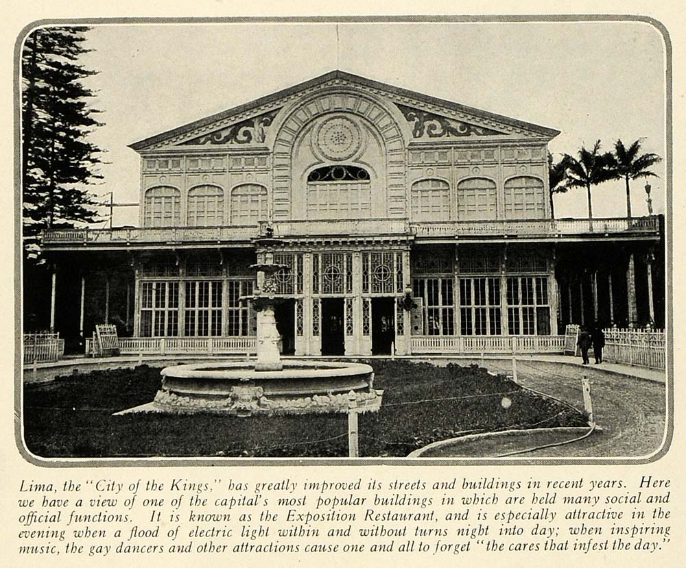 1920 print lima peru exposition restaurant architecture for Architecture 1920