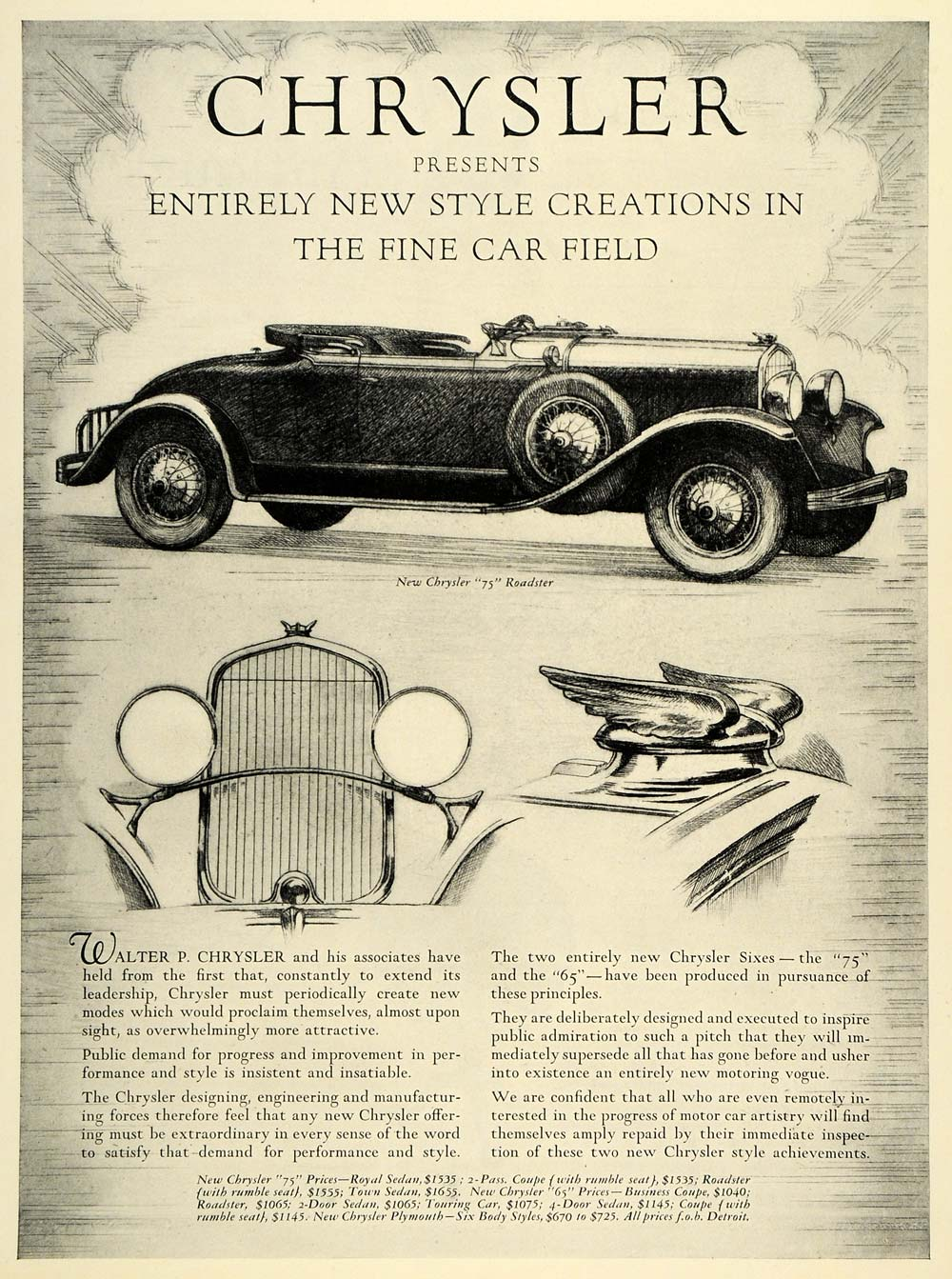 1928 Ad Chrysler Group Llc 75 Roadster Automobile Vintage