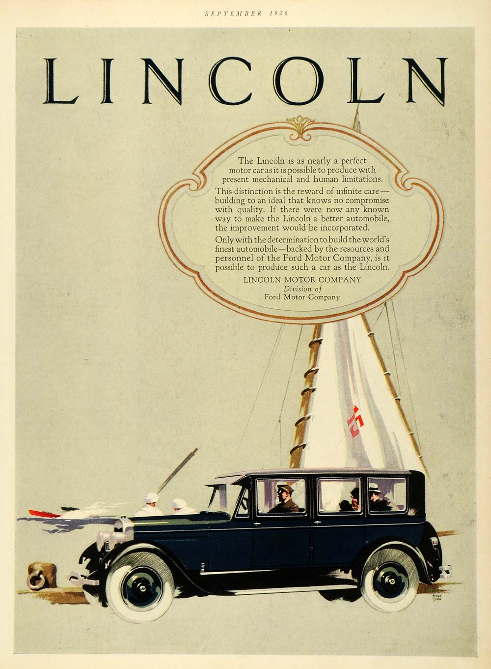 1926 ad lincoln motor co seaport sailors vintage blue for Lincoln motor car company