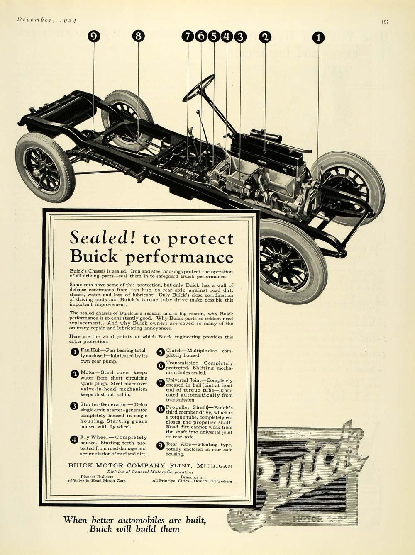 1924 Ad Buick Motor Cars Flint Michigan Chassis Engine
