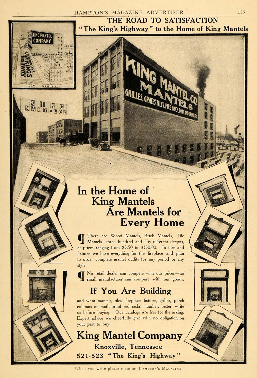 1910 ad king mantel wood brick building kings highway home for Home decor 1910
