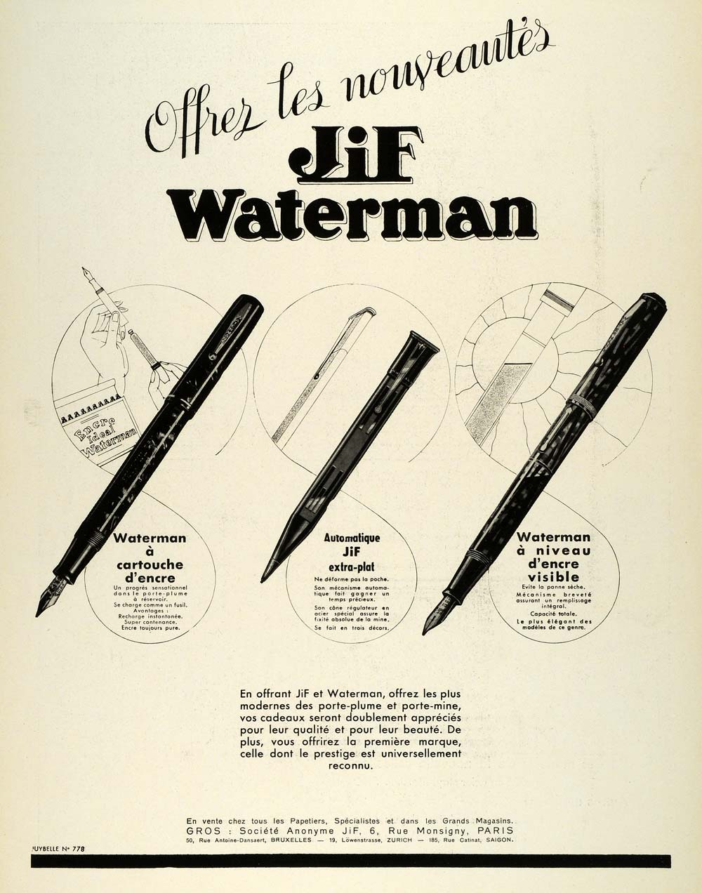 1936 Ad Jif Waterman French Fountain Pen Writing Ink