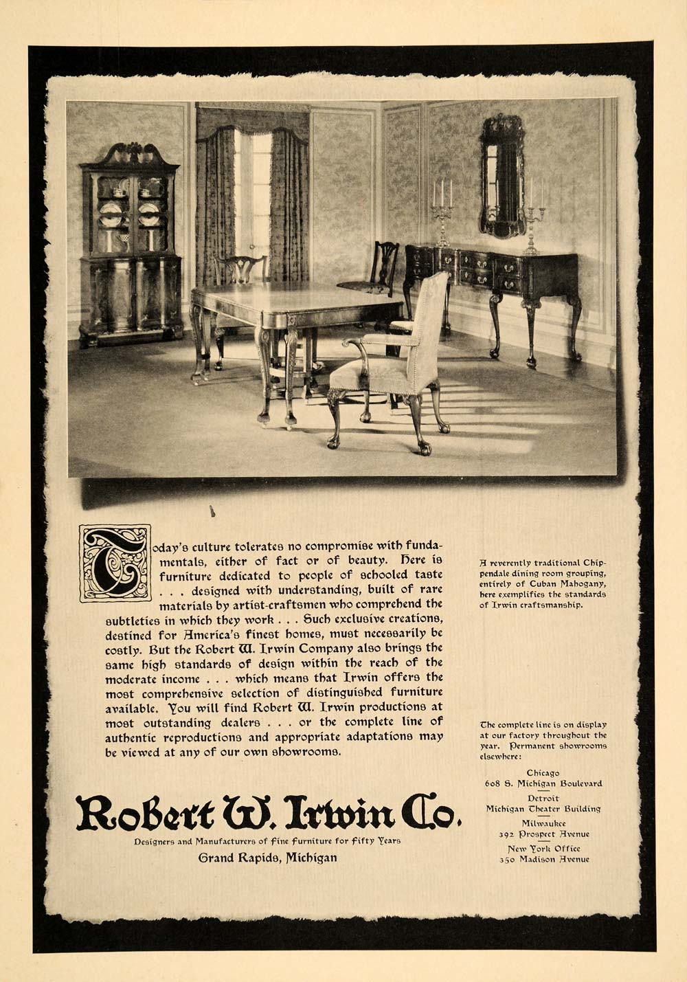 Robert W_ Irwin Furniture Company http://www.ebay.com/itm/1930-Ad-Robert-W-Irwin-Furniture-Dining-Room-Mahogany-ORIGINAL-ADVERTISING-/370765004956