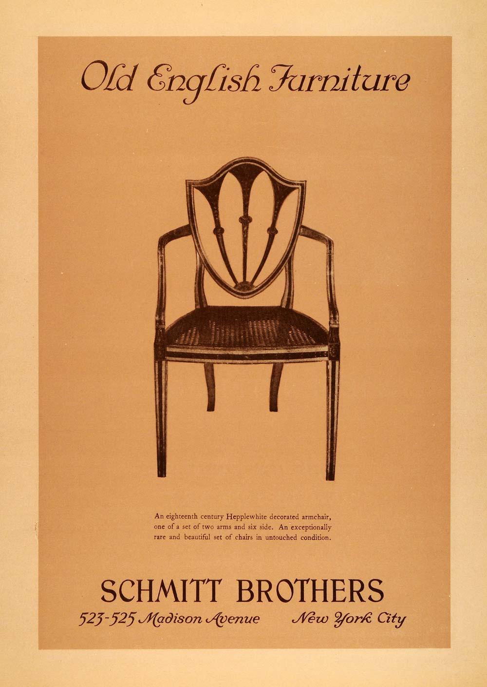 1925 Ad Schmitt Brothers Old English Furniture Wooden Hepplewhite Armchair Decor Ebay