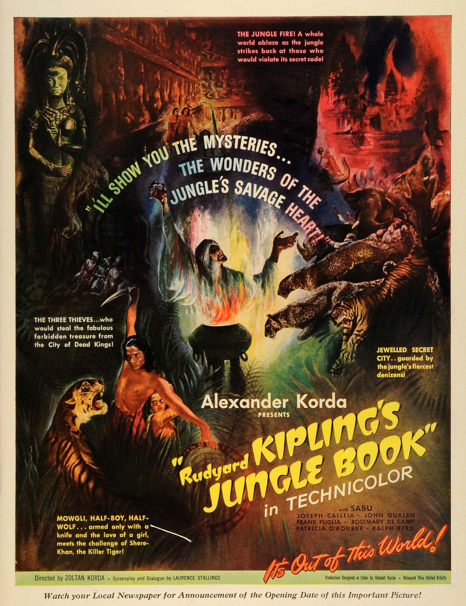 1942 Ad Rudyard Kipling Jungle Book Movie Film Vincent Alexander Zoltan Korda