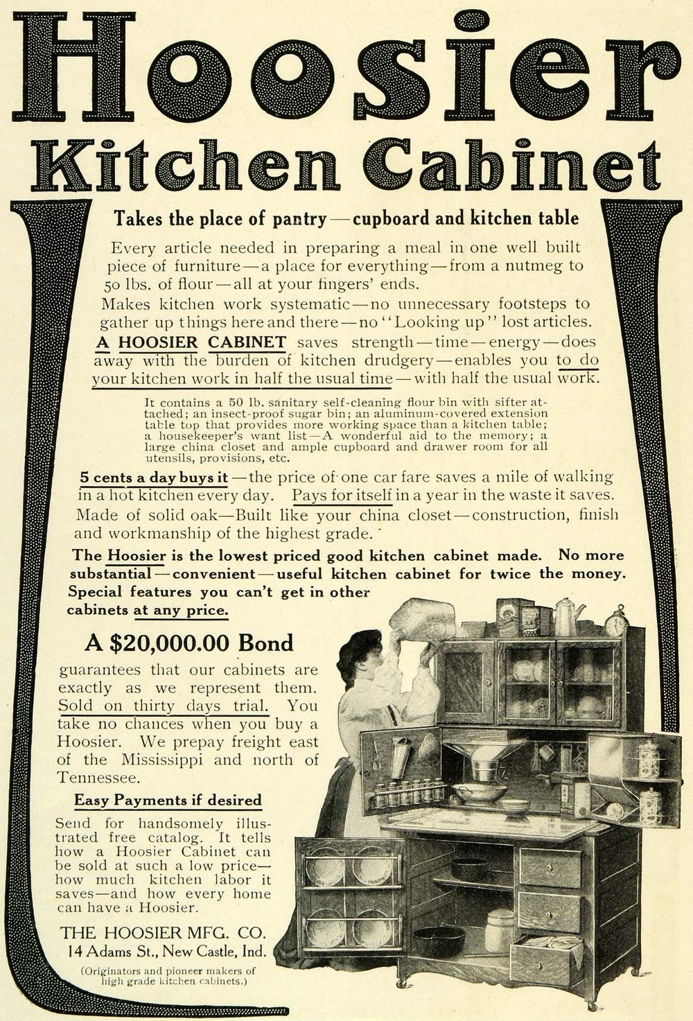 Kitchen Cabinet Advertisement 1905 Ad Hoosier Kitchen Cabinets Cupboards  Wife Flour