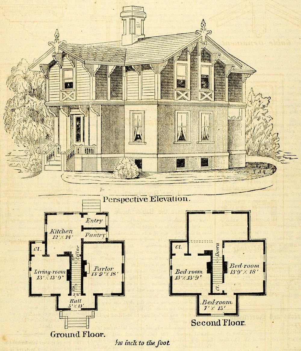 1873 print cottage architectural design floor plans Victorian cottage plans