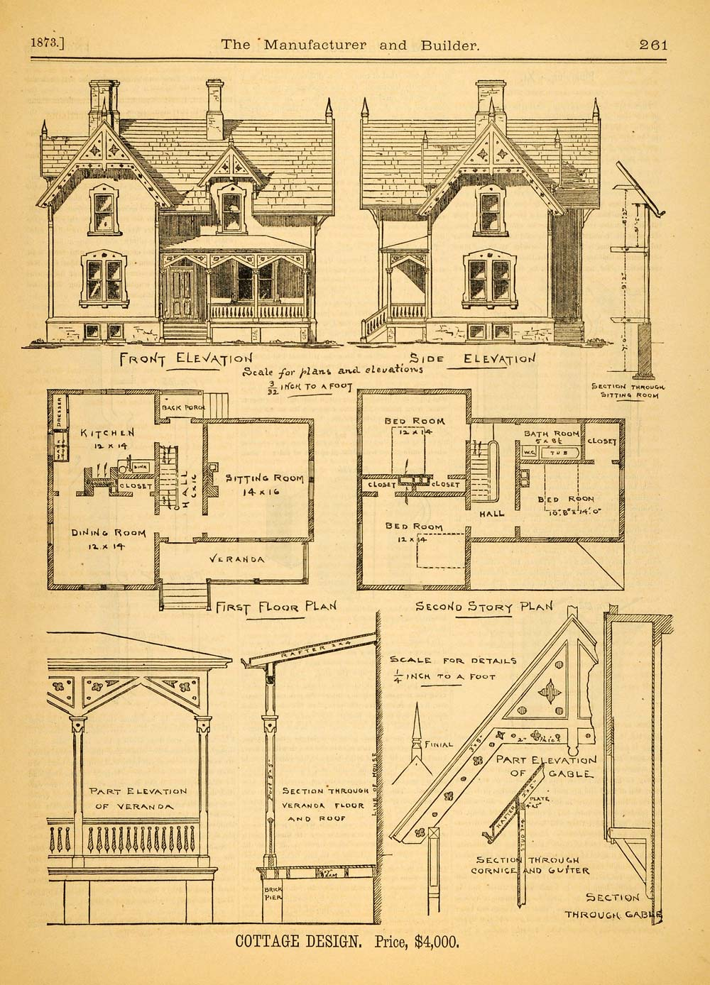 1873 print cottage architectural design floor plans