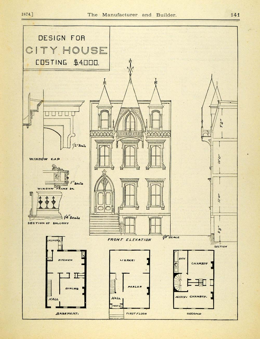 1874 Print Victorian Architecture City House Floor Plan