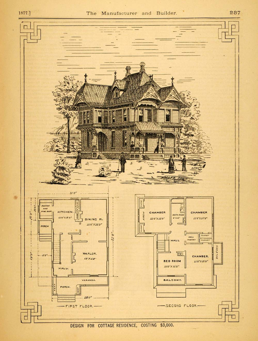 1877 Print Victorian Cottage Horace Greeley Knapp House