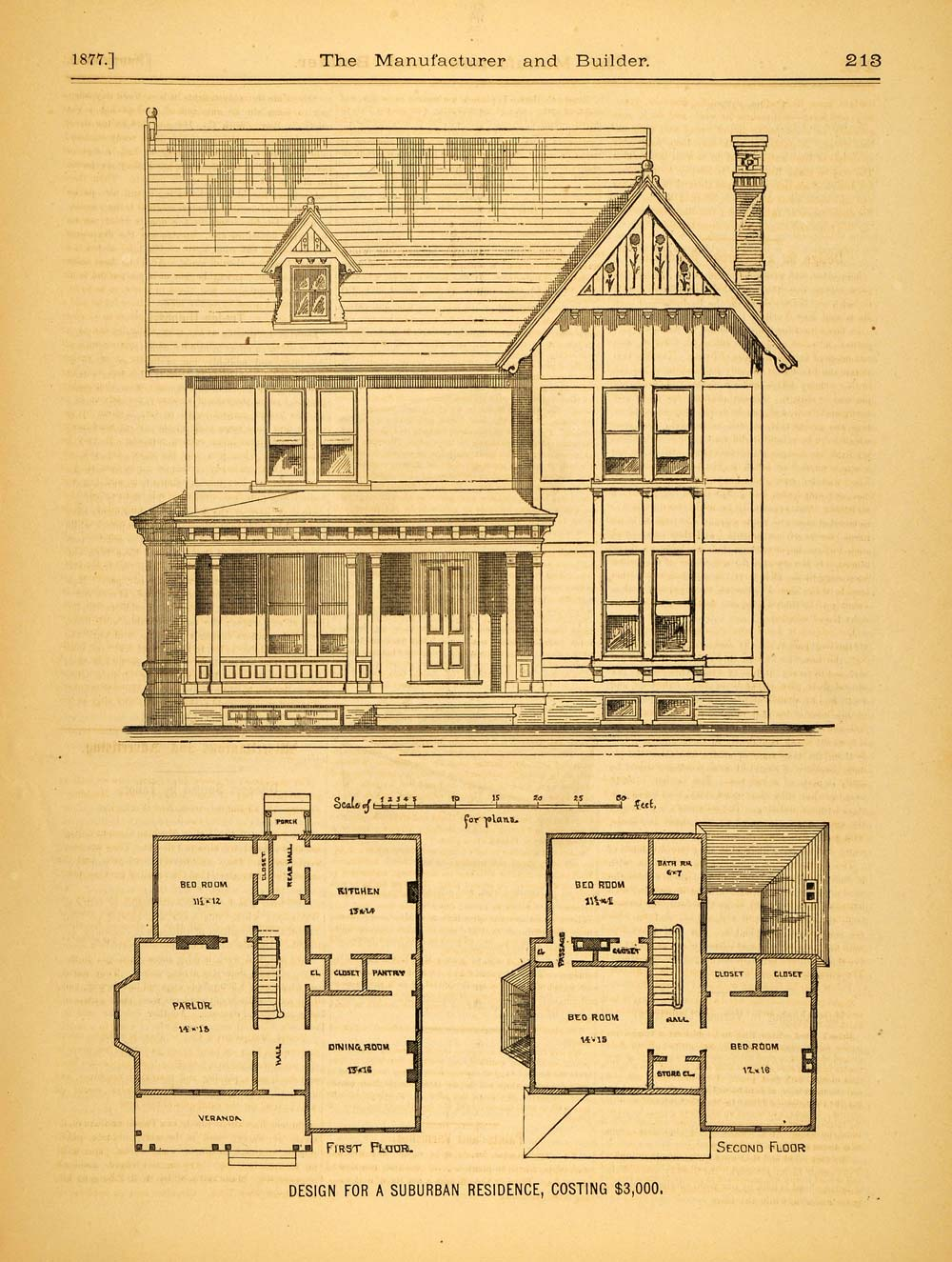 1877 print victorian suburban house c m morgan for Victorian house floor plans