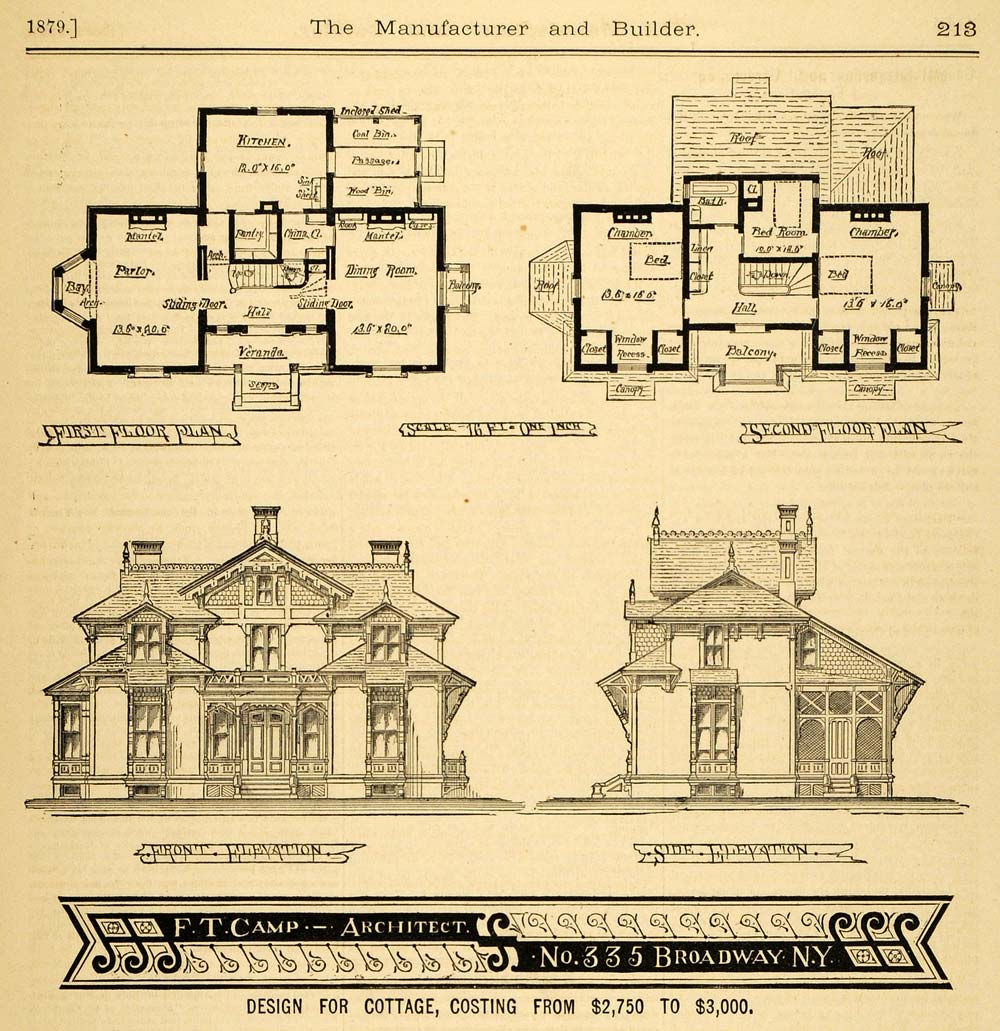 1879 print cottage architectural design floor plans for Print architectural plans
