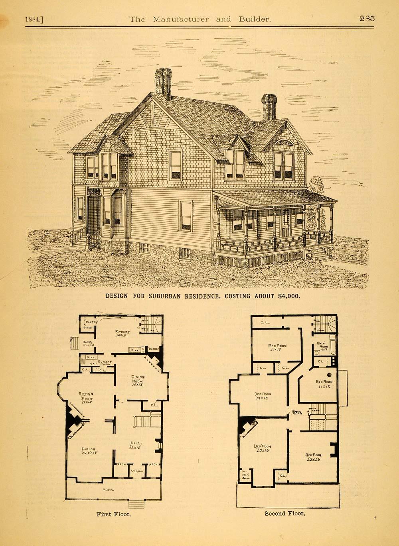 1884 Print Victorian Architecture House Design Augustus