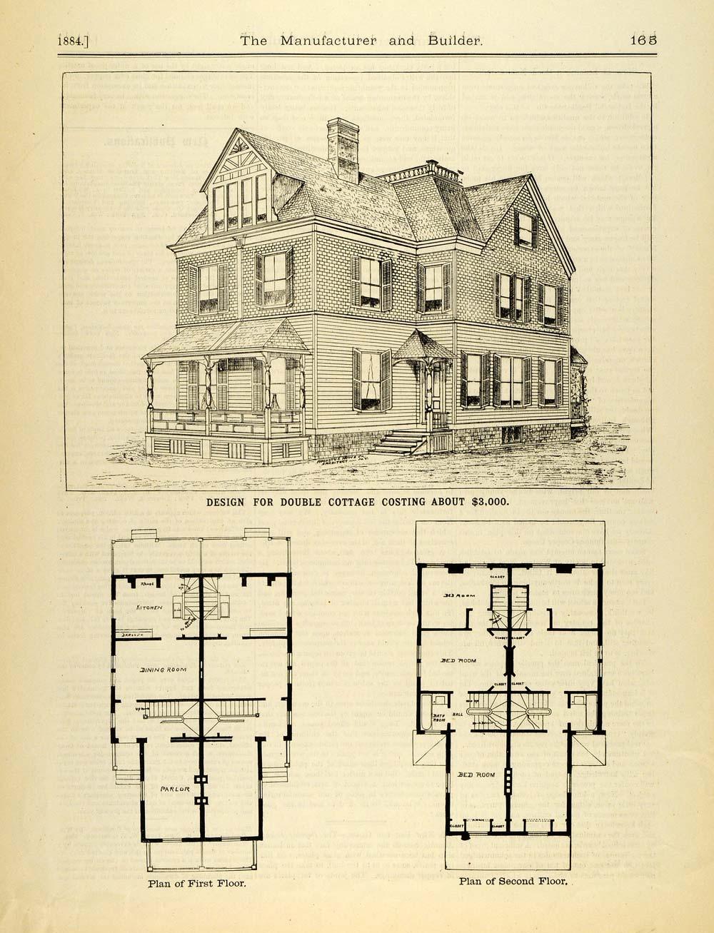 1884 Print Victorian Duplex House Architectural Design