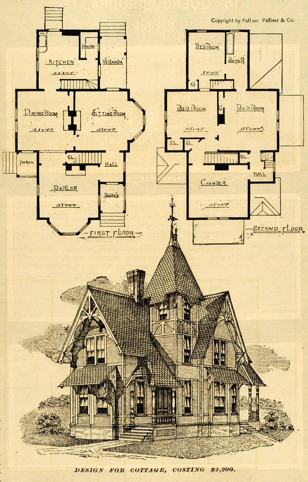 1889 Print Victorian Architecture Cottage House Design