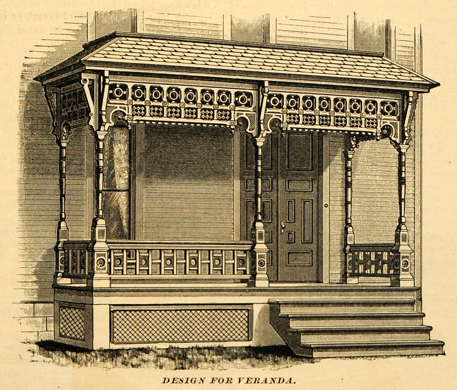 1890 print victorian cottage home veranda porch entryway 1890 home architecture
