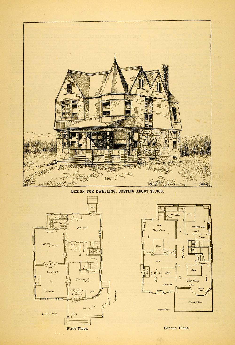 1891 Print Architectural Design Floor Plans Victorian