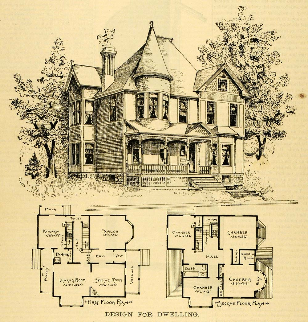 1891 print home architectural design floor plans victorian for Print architectural plans