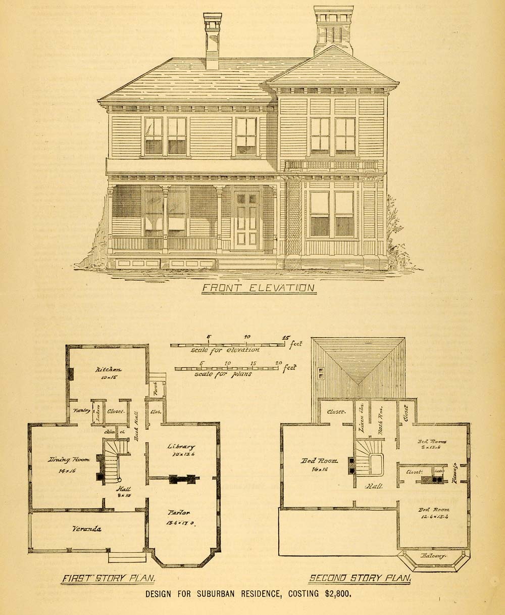 1878 print house architectural design floor plans for Old victorian house plans