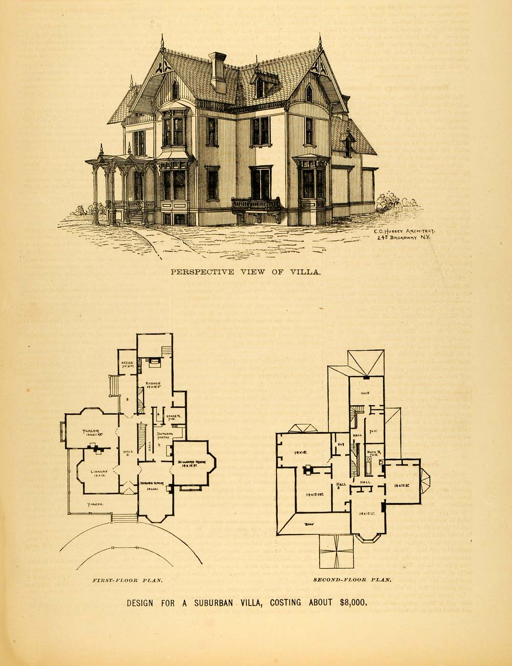 1878 print victorian villa house architectural design for Architectural design floor plans