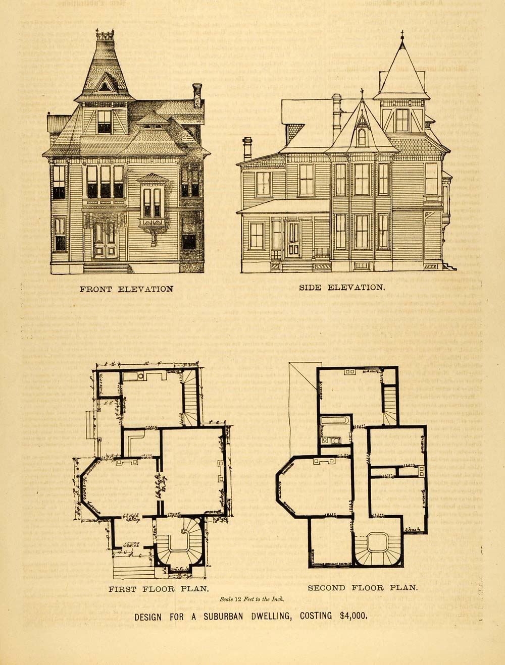 1878 print victorian suburban house architectural design for Original victorian house plans