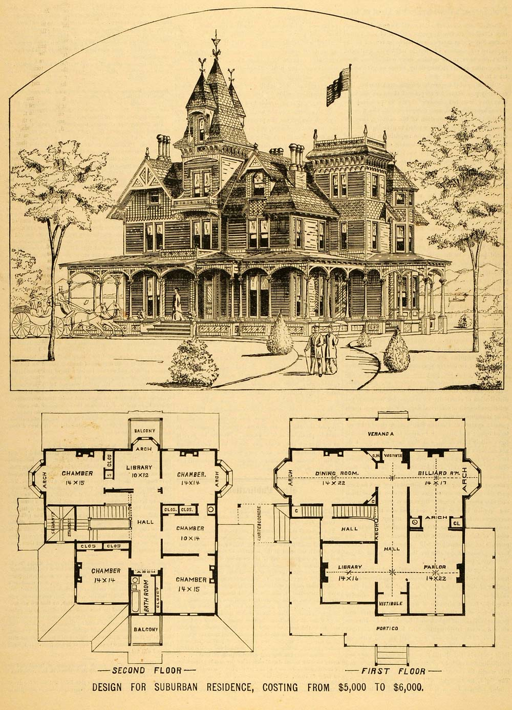 1879 print victorian house architectural design floor Historic house floor plans