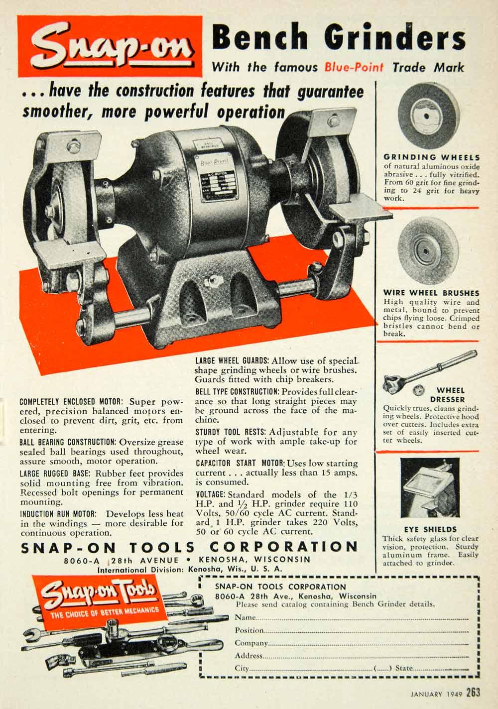 1949 ad snap on tools bench grinder 28th avenue kenosha