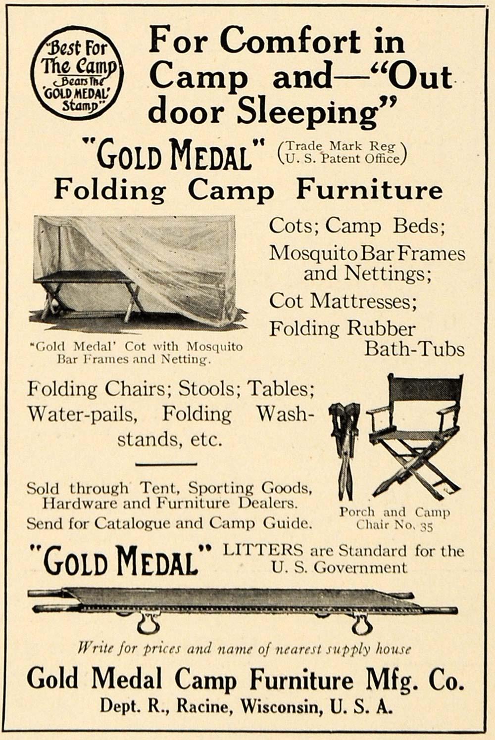 1917 Ad Gold Medal Folding Camp Furniture Wwi Racine Wi Original Advertising Ebay