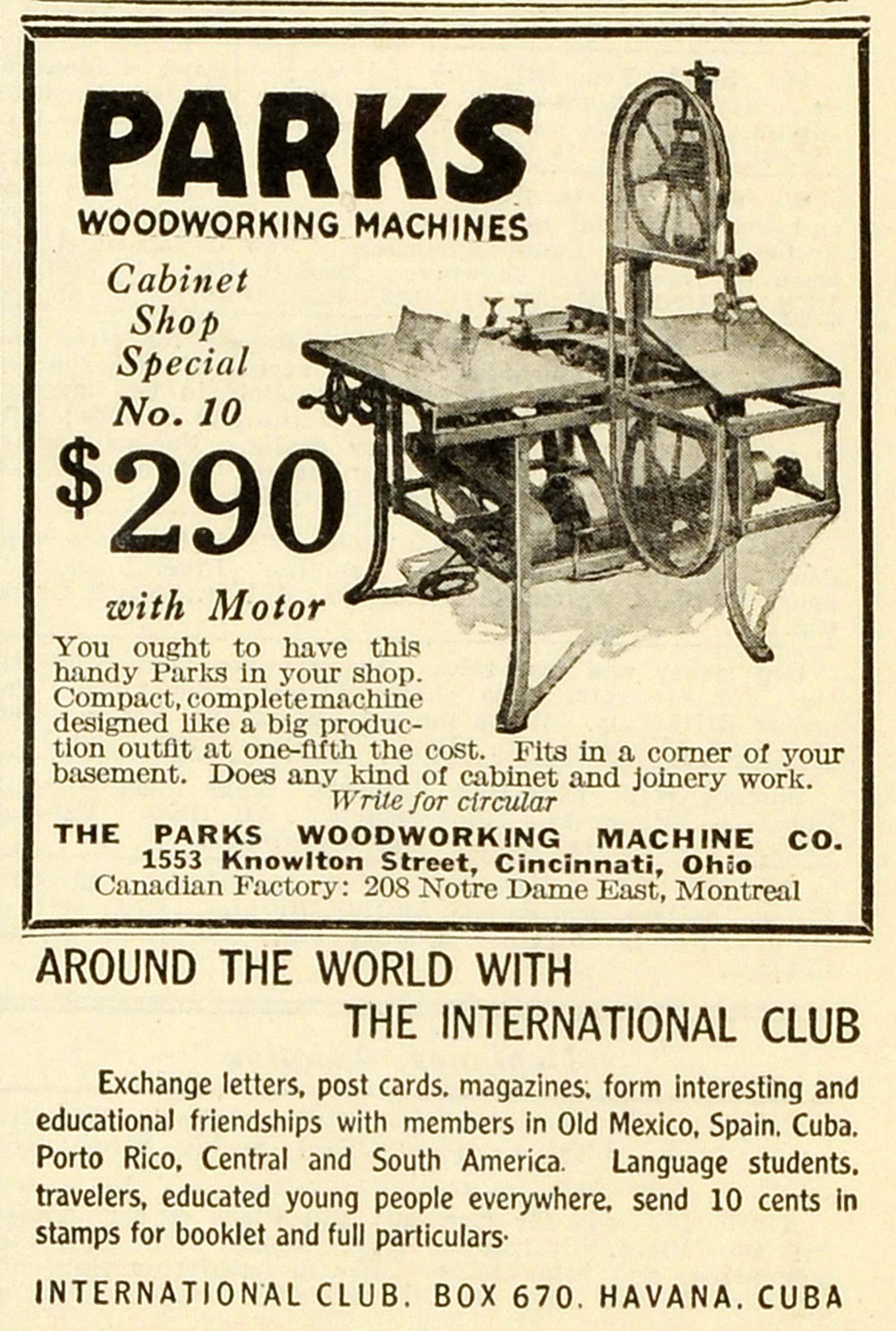 1928 Ad Parks Woodworking Machines International Club Havana Cuba Tool ...