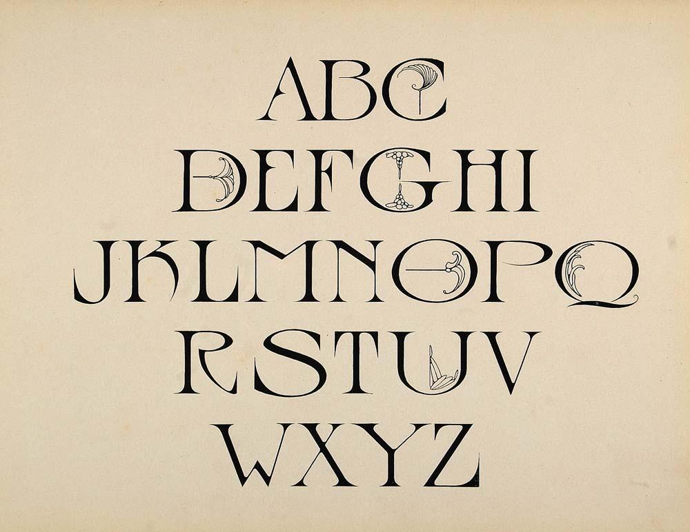 1910 Print Design Alphabet Upper Case Art Nouveau Font